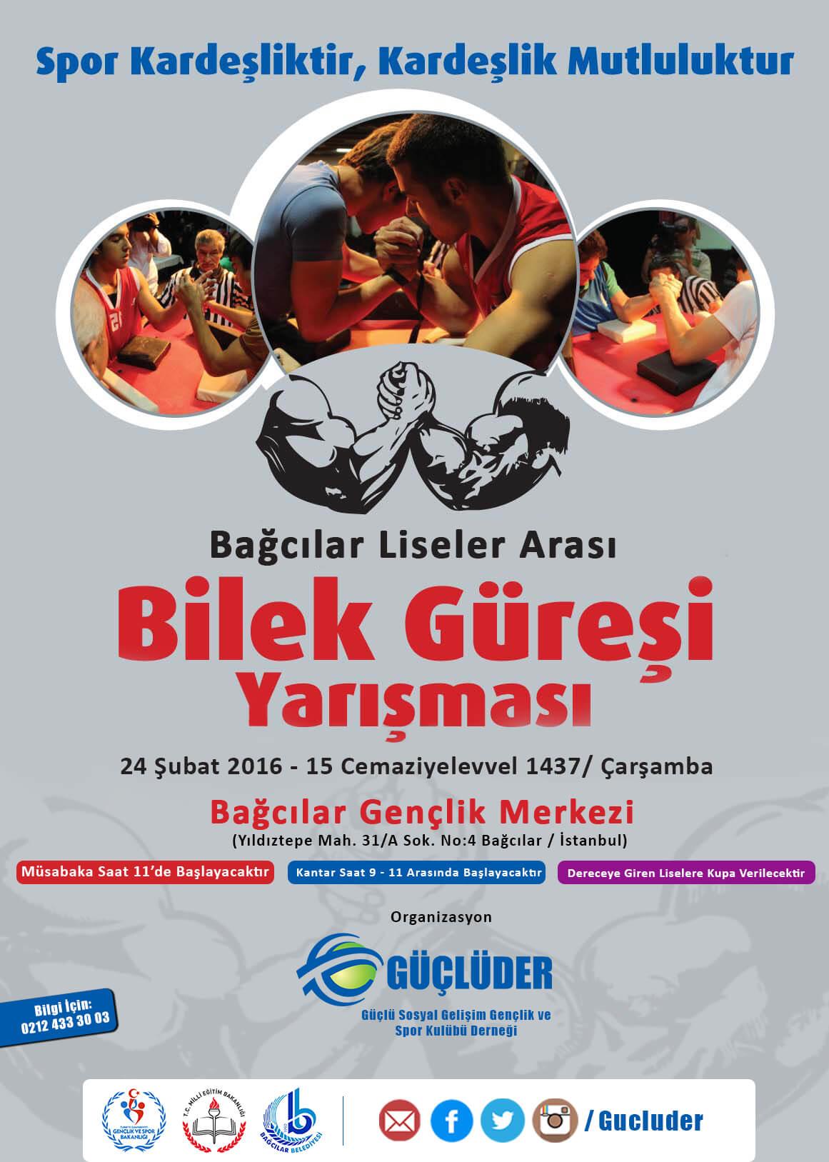 """İstanbul GÜÇLÜDER, """"Bağcılar Liseler Arası Bilek Güreşi Yarışması"""" Düzenliyor"""